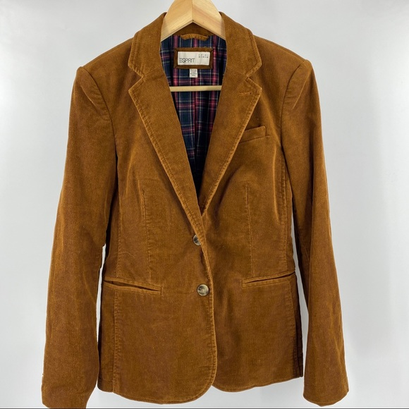 Vintage Esprit corduroy blazer with plaid lining
